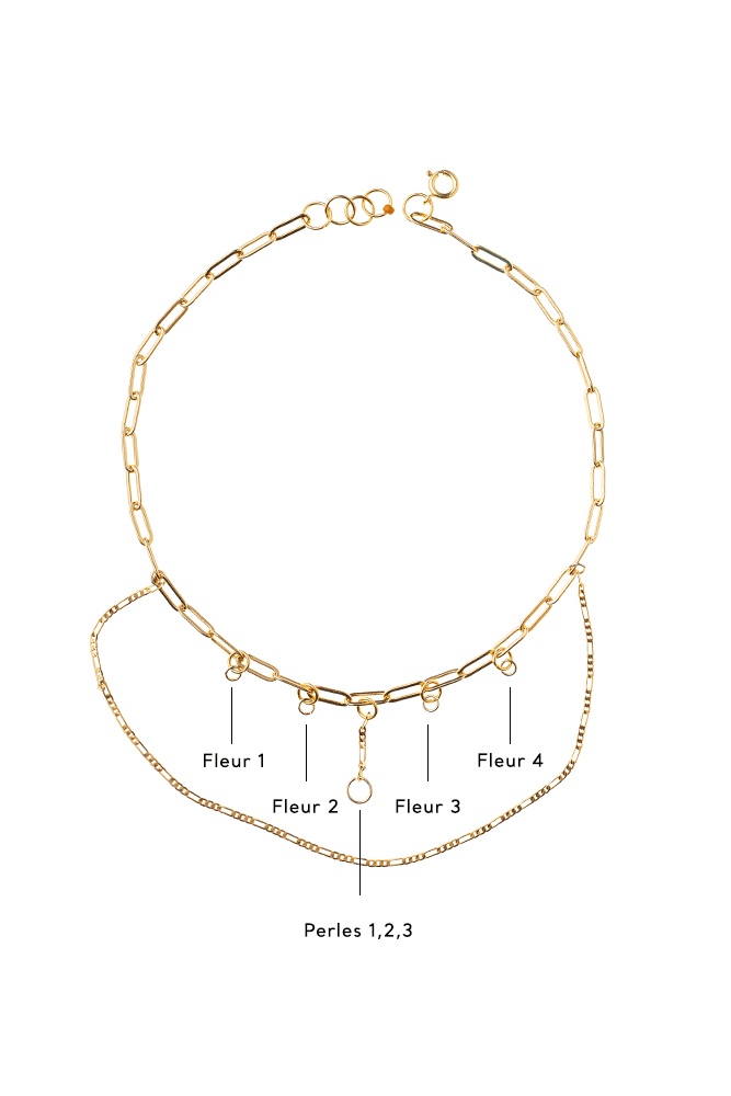 collier multi chaine personnalisation or