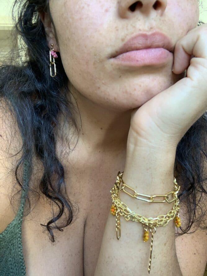 mini drop bracelet or rempli claude paris